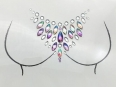 Bosom Crystal sticker Gem Jewelry CS1014