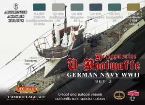 Camouflage Set LifeColor CS12 GERMAN NAVY WWII SET2 Kriegsmarine u-Bootwaffe