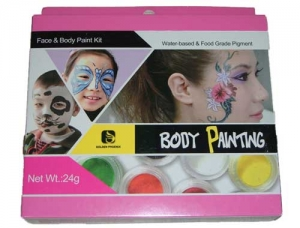 8 color face/bodypainting set + 2 brushes